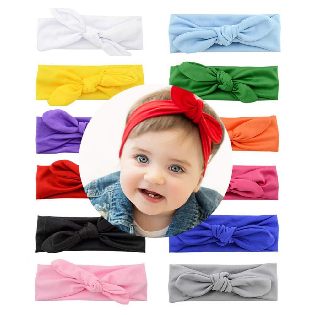 Beaupretty 6 st/ücke baby bowknot stirnb/änder elastische haarb/änder kinder weiche kopfbedeckung kopfbedeckung f/ür kinder baby infant wei/ß + orange + rosa + rot + gelb + rosig