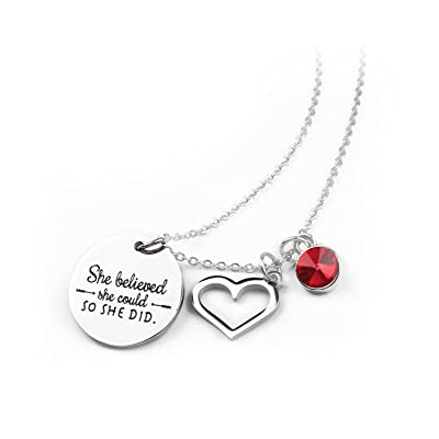 She Believed She Could So She Did Inspirational Necklace Birthstone