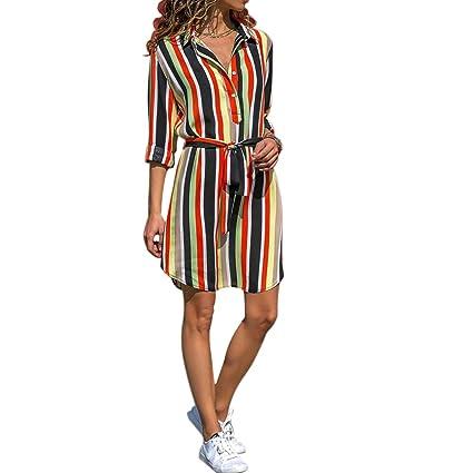 b9e6add4b01f19 FidgetGear Women Colorful Striped Long Sleeves T Shirt Dress Blouse Mini Dress  Red and White Stripes L: Amazon.in: Home & Kitchen