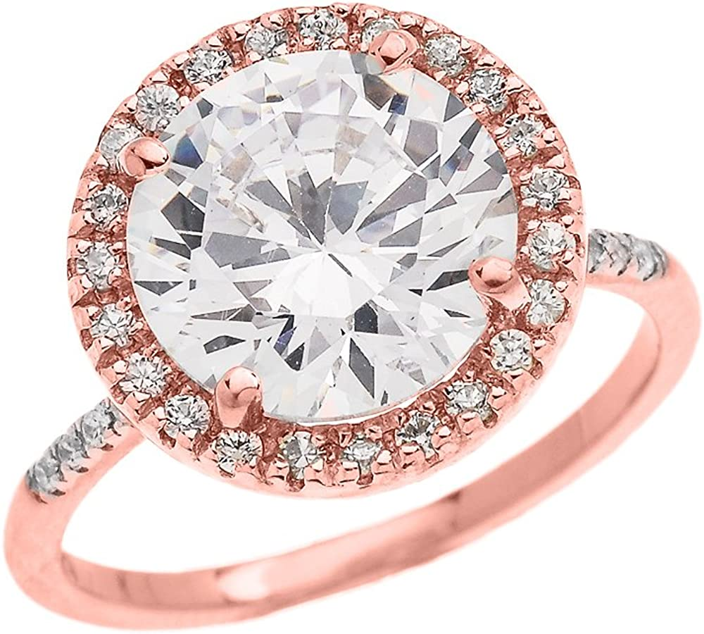 Micro Pave Setting Dainty 10k Rose Gold Cubic Zironia Solitaire Proposal and Engagement Ring