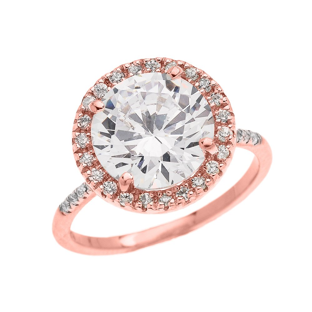 Dainty 14k Rose Gold Diamond Engagement Ring with CZ Center-stone (Micro Pave Setting) (Size 10.5)