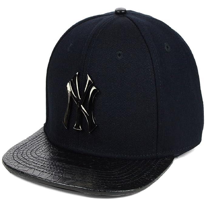 bb45dbb4c121e NY Metal Logo Black Snapback caps for men and boys   hiphop cap   Trucker  cap   NY HATS   NY CAPS  Amazon.in  Clothing   Accessories