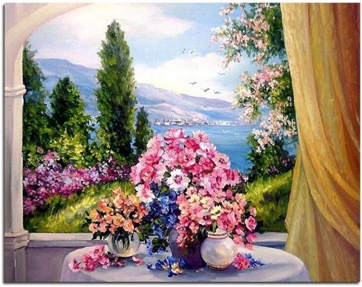 Flores Coloridas Ventana Diy Pintura Al Óleo Por Números Cuadros Lienzo Pintura Para Sala De Estar Pared Arte Decoración Del Hogar