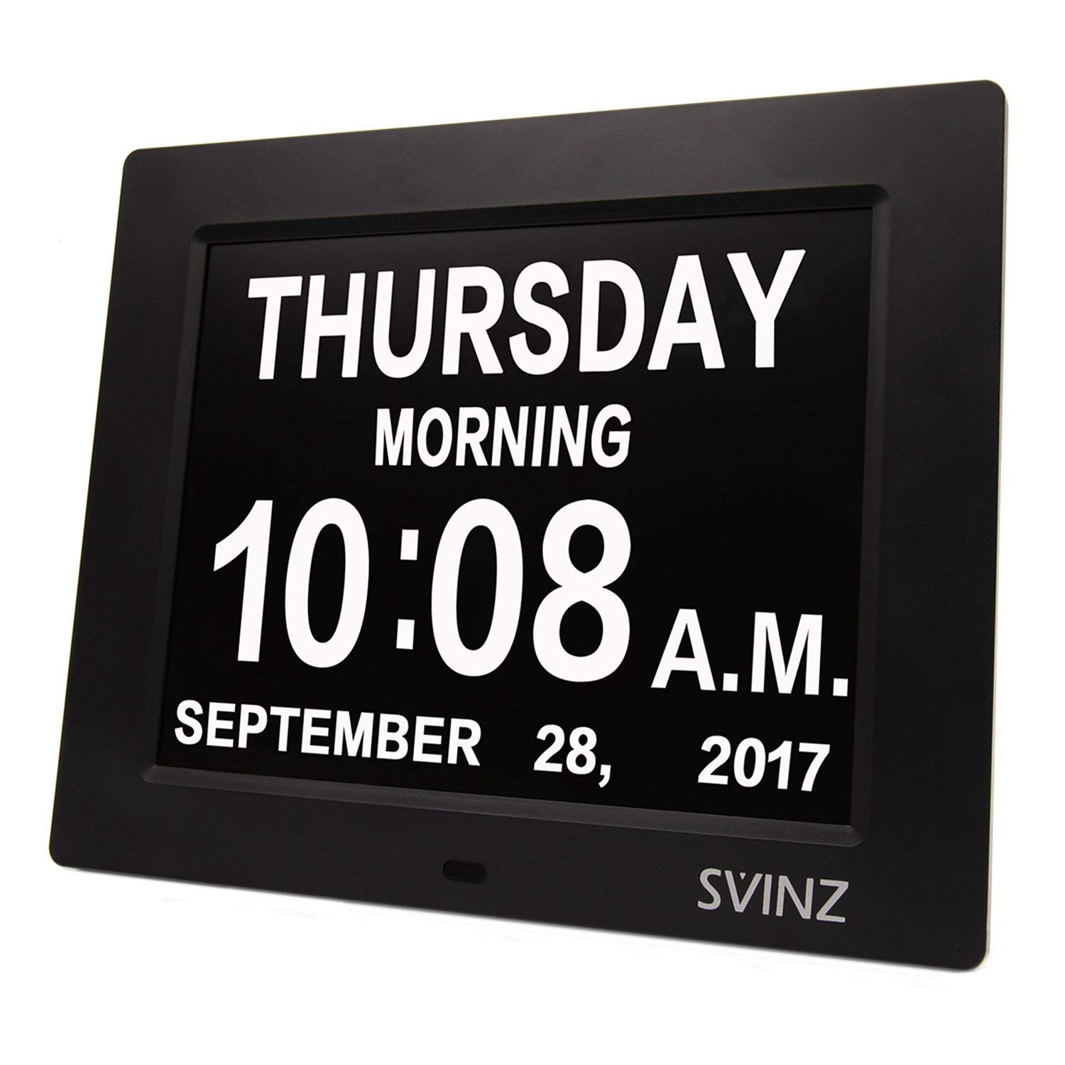 SVINZ 3 Alarms Dementia Clock, 2 Auto-Dim Options, Large Display Digital Calendar Day Clock for Vision Impaired, Elderly, Memory Loss, Black, SDC008W by SVINZ