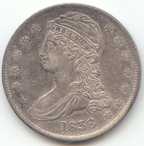 1838 Capped Bust Reeded Edge Half Dollar Choice Extra Fine