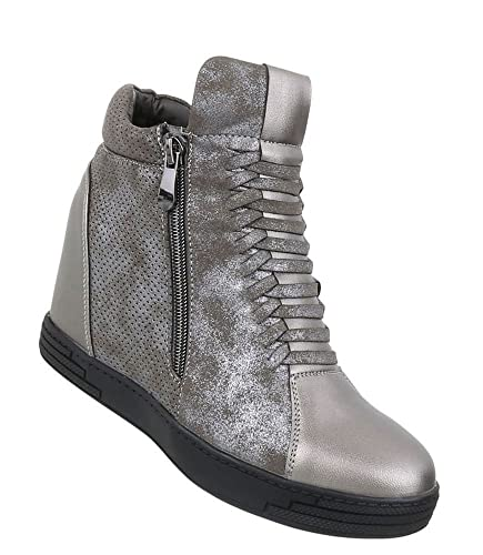 Schuhcity24 Damen Sneakers Keilabsatz  Sneaker Wedges  Keilabsatz Schuhe  Wedge Sportschuhe  Basketball Style