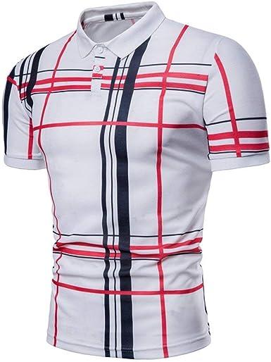 Camisa De Polo para Hombre Camisa De Polo Mode De Marca De Manga Corta con Solapa Casual Camisa De Polo De Verano A Cuadros De Corte Slim Fit Camisetas Básicas: Amazon.es: Ropa