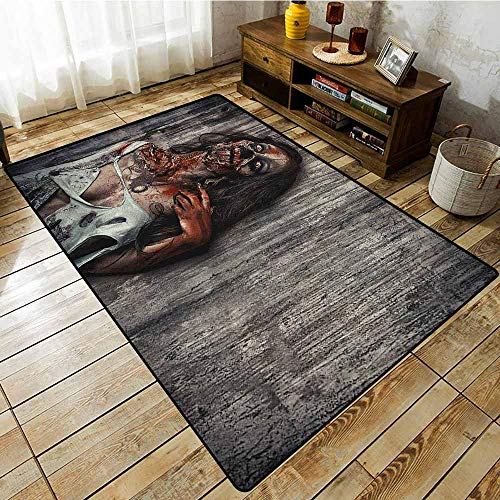 Non-Slip Rug,Zombie,Angry Dead Woman Sacrifice Fantasy Design Mystic Night Halloween Image,Extra Large Rug Dark Taupe Peach Red