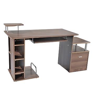 Homcom. Escritorio de oficina para ordenador de madera marrón ...