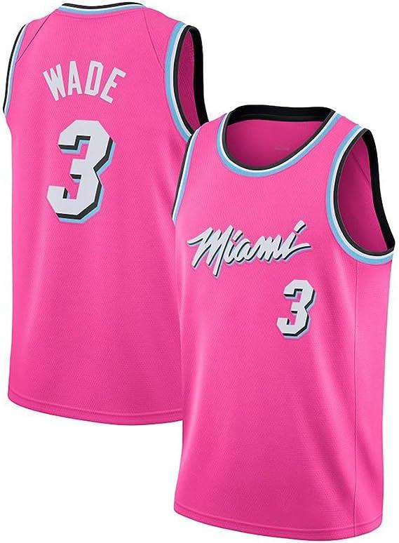 Dwyane Wade # 3 Camiseta De Baloncesto De Los Hombres - NBA Miami Heat, New Jersey Camisa Sin Mangas Tela,Pink-XL: Amazon.es: Ropa y accesorios