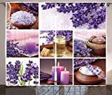 Spa Decor Curtains Lavender Garden Alike Themed Relaxing Candles Stones And Herbal Salt Image Living Room Bedroom Window Drapes 2 Panel Set Purple and White