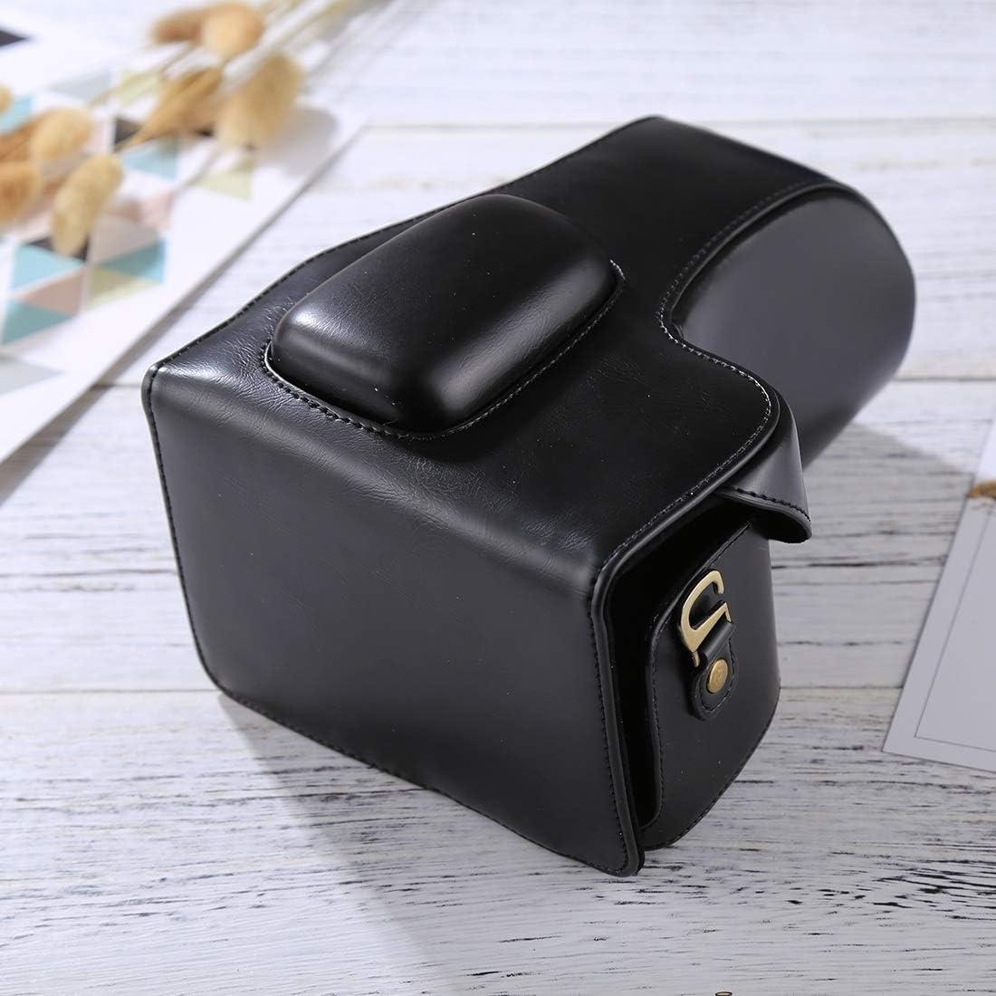 18-55mm // 18-105mm Lens Yangjingya Camera Bag Wide Body Camera PU Leather Case Bag for Nikon D3200 // D3300 // D3400 Black Color : Coffee