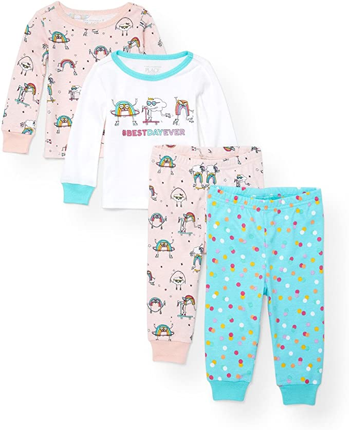 The Childrens Place Baby Girls 3 Pack Novelty Printed Variety Pajama Set