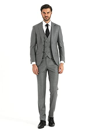 Sayki Light Grey Suit With Vest At Amazon Men S Clothing Store