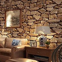 "3D Brown Rock Wallpaper Wood Grain Living Room Background House Wallcoverings 20.8"" x 393.7"""