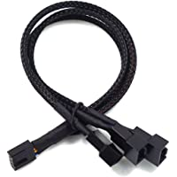 UTSLIVE PWM Fan Splitter 4 Pin Fan Extension Power Cable Black Sleeved Braided 3 Way for Computer