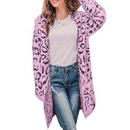 Mounter-Tops Abrigo de Invierno con Estampado de Leopardo para Mujer, de Forro Polar