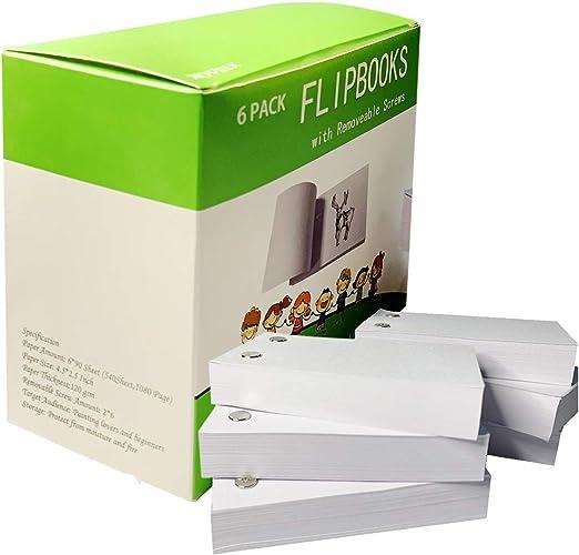 Novsix Libro con tapa de papel: papel de animación con tornillos extraíbles, 1080 páginas, 4,5 x 2,5 pulgadas, suministros para bocetos funciona con kit de libro con almohadillas de luz: Amazon.es: Hogar