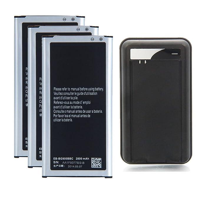 3 x 2800mAh Baterias de repuesto + Cargador de pared USB para Samsung Galaxy S5 EB-BG900BBU EB-BG900BBZ EB-BG900BBC