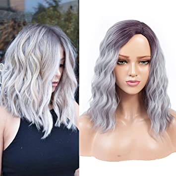 Dula A Synthetic Wig Hair Natural Wave Middle Long BOB Hair Wigs Side Part  Heat Resistant Fiber Wig Cute Girl Neat Bands Fashion Colorful Ombre Grey