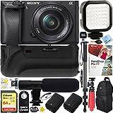 Sony a6500 4K Mirrorless Camera Body w/ APS-C Sensor Black (ILCE-6500/B) + 16-50mm Power Zoom E-Mount Lens & 64GB Battery Grip & Shotgun Mic Pro Video Bundle