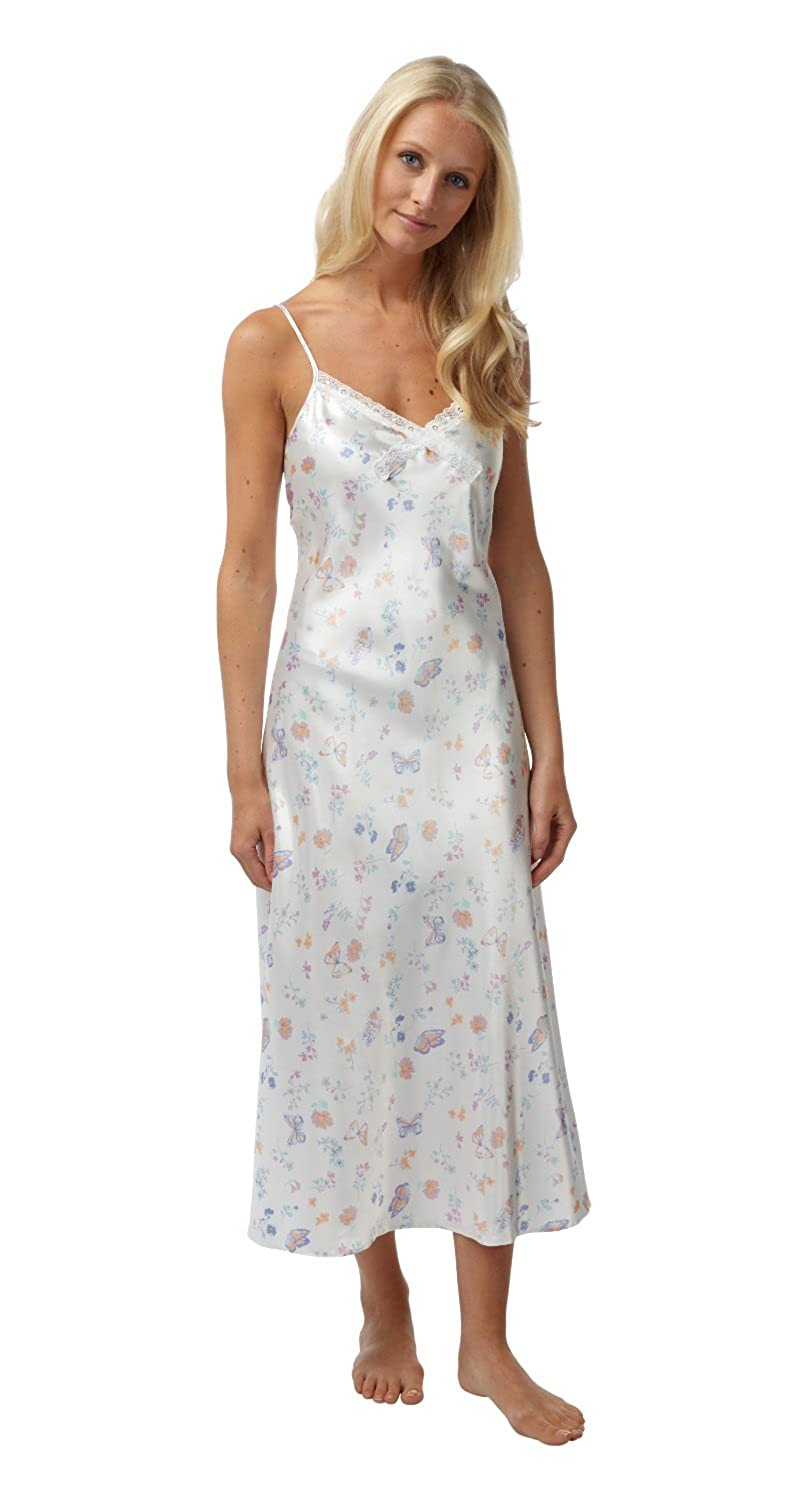 Ladies Satin Long Chemise   Nightie   Slip Cream with Lilc Butterflies on - Sizes  8 fe1a2f7af