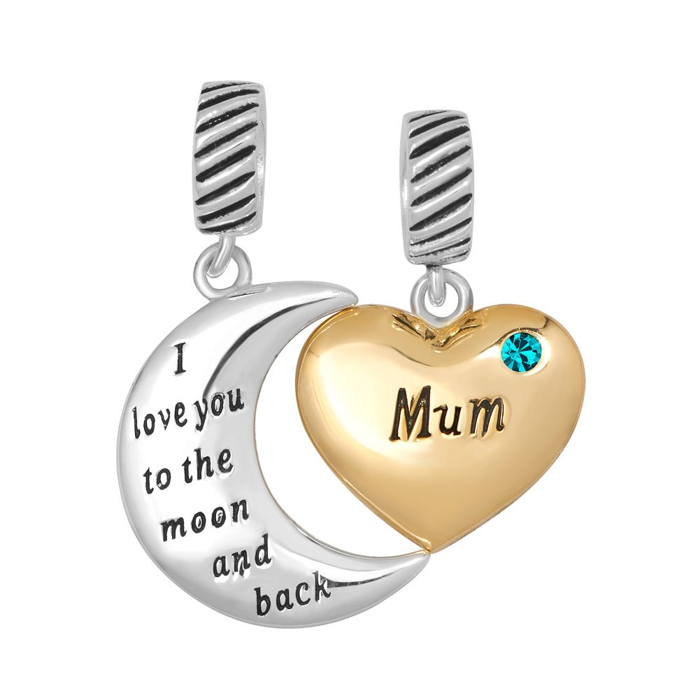 7c1a86d2c00f7 Heart Mum Charm 925 Silver Birthstone 2 Pcs I Love You to The Moon and Back  Fit Pandora Bracelet