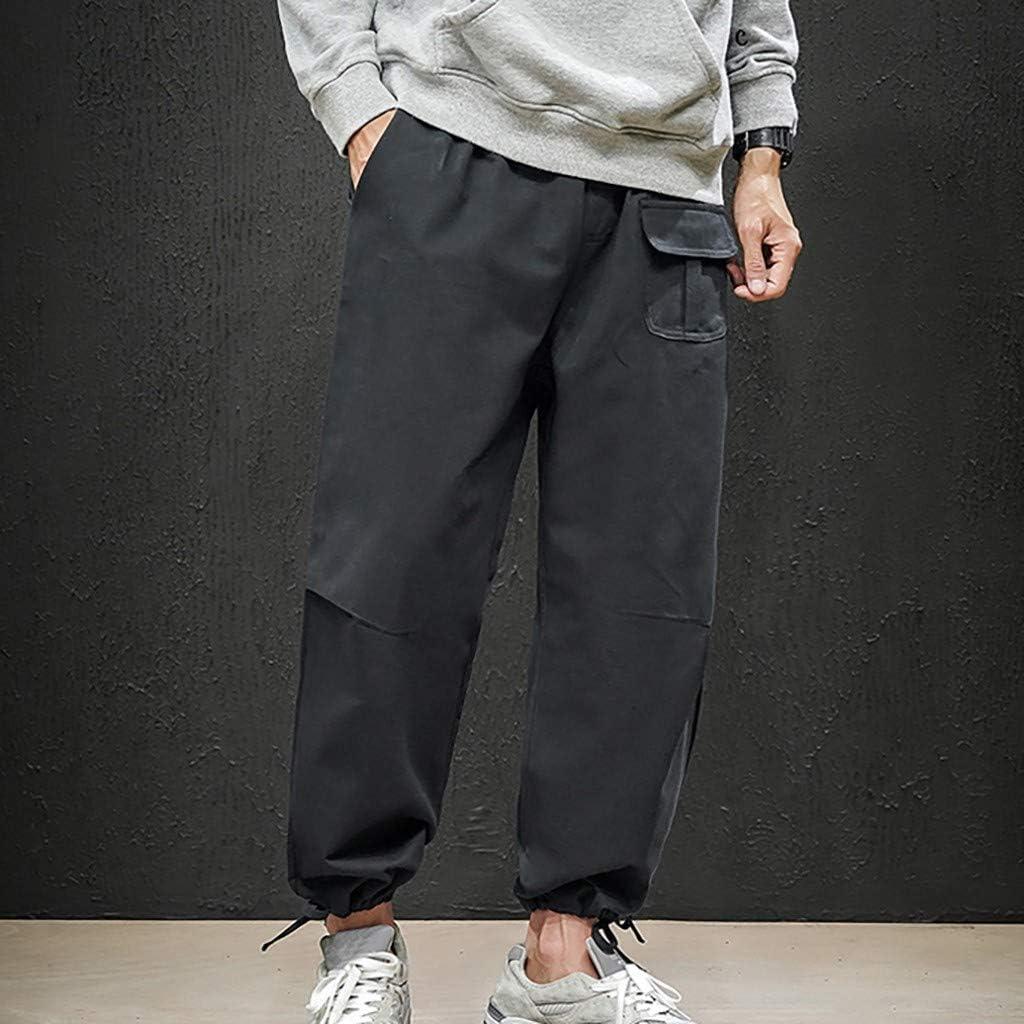 Houshelp Mens Hip hop Loose Sweatpants Sports Jogger Trousers with Pockets Active Gym Drawstring Casual Harem Pants