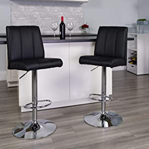 Flash Furniture 2 Pk. Contemporary Black Vinyl Adjustable Height Barstool with Vertical Stitch Panel Back and Chrome Base