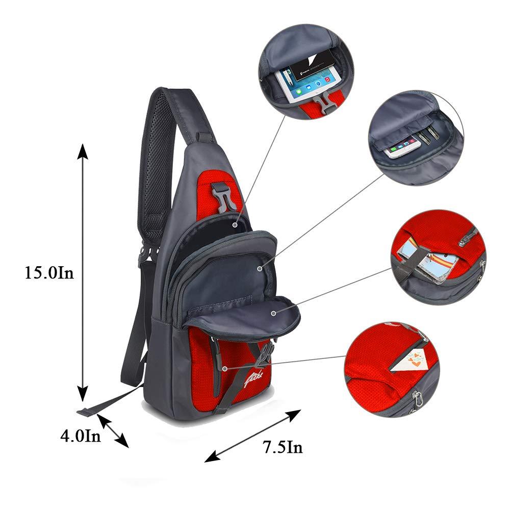 Y&R Direct Sling Bag Sling Backpack,Shoulder Chest Crossbody Bag Purse Nylon Lightweight MulticolorSmall Daypack Outdoor Hiking Camping Travel Women Men Boy Girls Kids Gifts (Red)