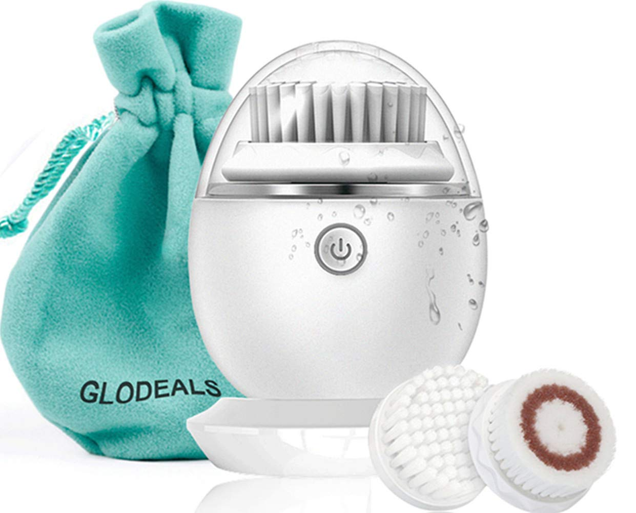 GloDeals Facial Cleansing Brush, Electric Body Facial Hair Removal Face Brush Wireless Recgargeable Waterproof Face Wash Brush (white)