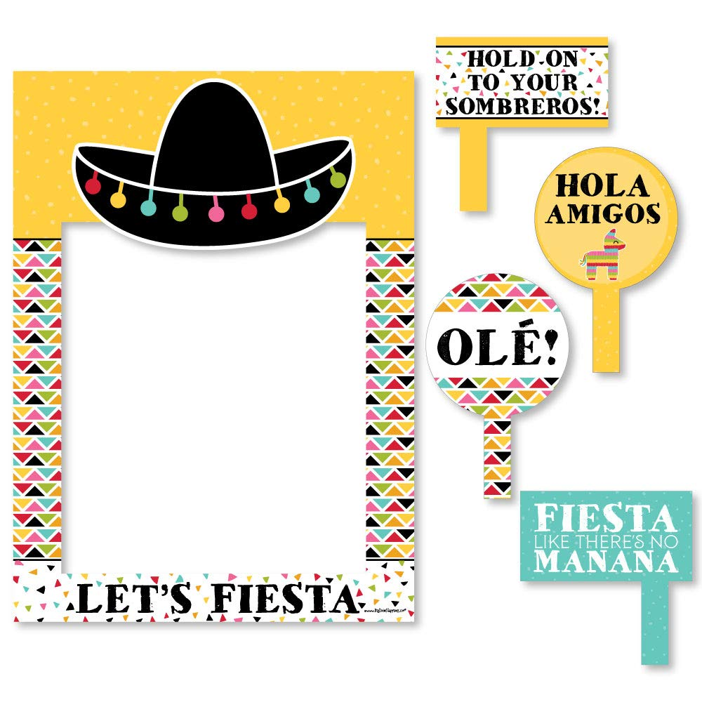 Big Dot of Happiness Let's Fiesta - Mexican Fiesta Selfie Photo Booth Picture Frame & Props - Printed on Sturdy Material