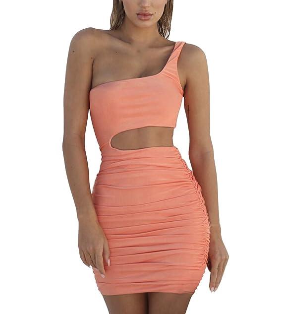 788e2f41ad7 Sommerkleider Damen Mini Kleid One Shoulder Rückenfrei Bodycon Abendkleid  Strandkleid Party Schulterfrei Kleider Ärmellos Bandeaukleider Minikleid   ...