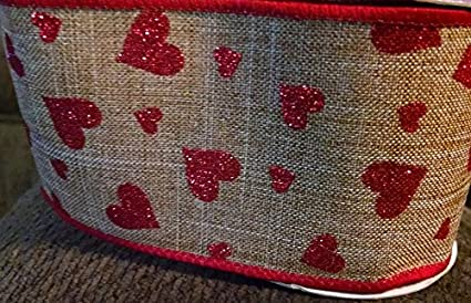 2.5\u201d X 10 Yards Red Glitter Accents Bows Wire-Edged Wreath Valentine\u2019s Day Ribbon Centerpiece Pink Linen-Like Hearts Ribbon