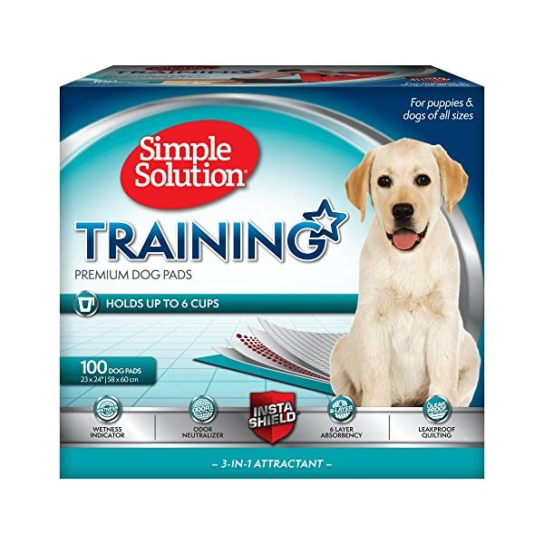 Simple Solution Training Puppy Pads | 6 Layer Dog Pee Pads, Absorbs Up to 6 Cups of Liquid | 23×24 Inches, 100 Count