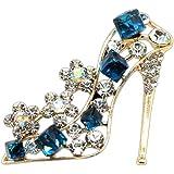 Vi.yo ブローチ 合金 クリスタル ハイヒール ファッション キラキラ アクセサリー 贈り物 ギフト ブルー