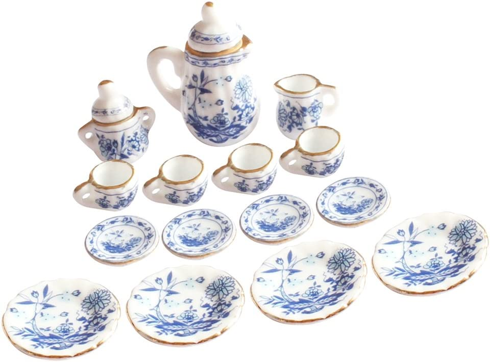 15 pieces Porcelain tea set Dollhouse miniature foods Chinese rose dishes c I3W9
