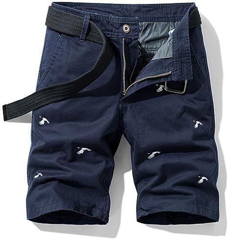NGRDX&G Bermuda Pantalones Cortos De Carga Hombres Algodón Bordado Hombre Verano Pantalones con Cremallera para Hombre Pantalones Cortos Holgados Masculinos: Amazon.es: Deportes y aire libre