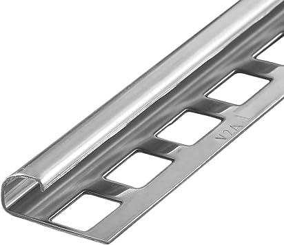 8 mm I gl/änzend HORI/® Fliesenprofil I Quadroprofil aus Edelstahl St/ück L/änge /á 2,50 m I H/öhe