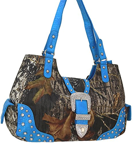 """mossy Oak"" Camouflage Print With Studs Handbag-turquoise(am2-1)"