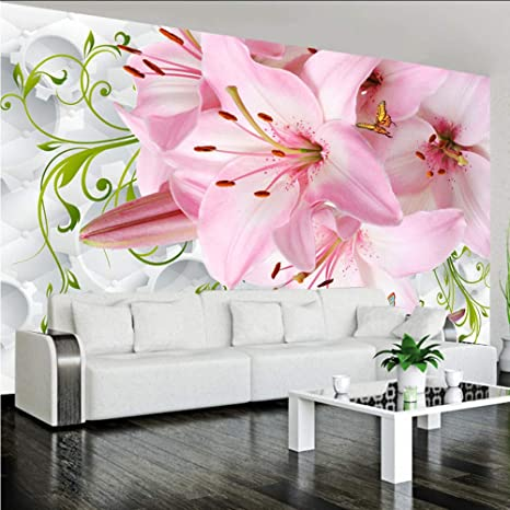 Amazon.com: Hwhz - Mural romántico rosa con flores de lirio ...