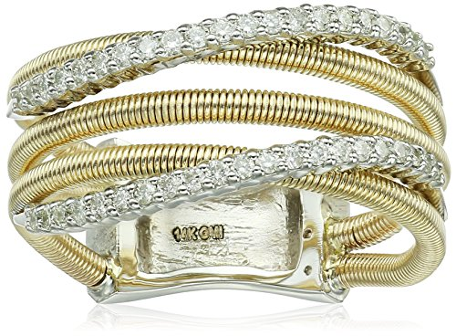 14k Yellow Gold Shared 4-Prong 2 Curved Diamond Row 3 Fancy Wire Rows Fashion Ring (1/3cttw, I-J Color, SI2-I1 Clarity), Size 7 ()