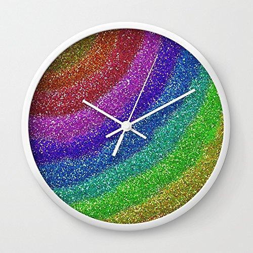 Society6 Rainbow Glitters Wall Clock White Frame, White Hands
