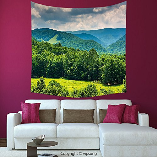 House Decor Square Tapestry-Landscape View Of Mountains In Potomac Highlands Of West Virginia Rural Scenery Picture Forest Green_Wall Hanging For Bedroom Living Room (Virginia Highlands Halloween)