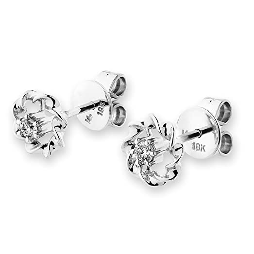 Miore Earrings Women Solitaire studs Diamonds 0.06 ct 925 Sterling Silver L4GKUM
