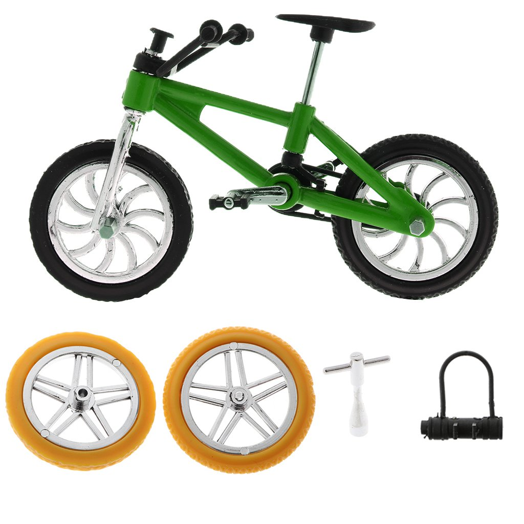 Homyl Miniature Metal Extreme Sports Finger Bicycle Mountain Bike Model Boy Toys Creative Game Gift With Accessory - Green