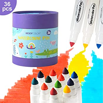 Kiddycolor 36-Color Watercolor Pens Washable Art Markers