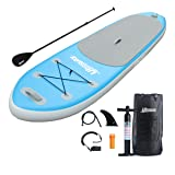 UBOWAY Inflatable Stand Up Paddle Board with Adjustable Paddle, Backpack, Pump, Elastic Rope, Fin, Repair Kit 120 x 30 x 6 Inch