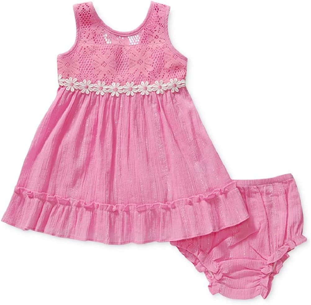 Sweet Heart Rose Baby Girls Mixed-Media Dress Pink//Daisies