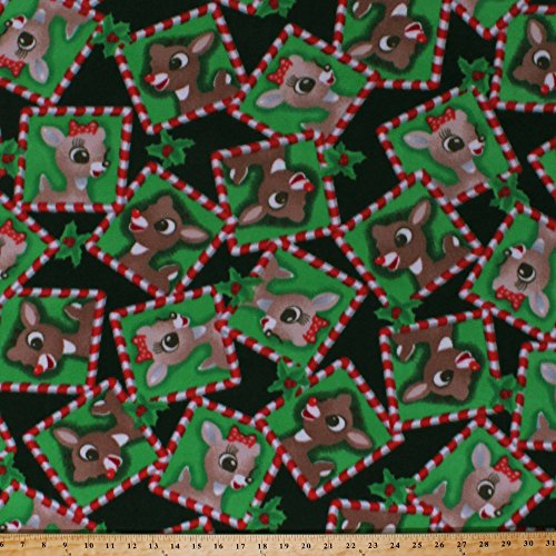 Fleece Rudolph and Clarice Frames Squares Red-Nosed Reindeer Animals Holly Leaves Berries Christmas Winter Holiday Inspirations Kids Children's Green Red Fleece Fabric Print by the Yard (k76907Fb) ()